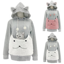 Hooded Sweatshirt Women Cat Sweatshirt Animal Print Pocket Pouch Plush Embroidered Hot Load Hooded Long Sleeve Top Sweatshirt d5(China)
