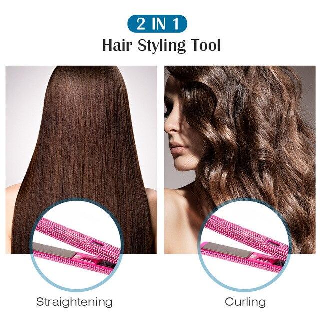 New Crystal Hair Straightener Flat Iron LCD Digital Display Titanium Plate Diamond Sparkling Rhinestones Hair Styling Tools