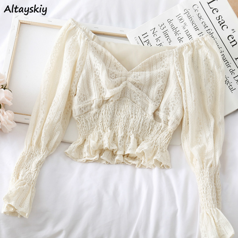 Blouses Women V-Neck Long Sleeve Solid Hollow Out Breathable Korean Style Fashion Leisure 2020 Womens Elegant Vintage Streetwear