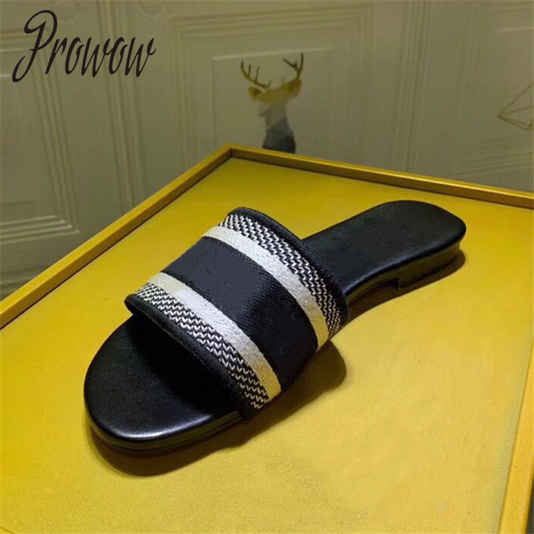 Prowow New Spring Summer Luxury Brand Rund Toe Floral Printed Slippers Outdoor Beach Vacation Slippers Shoes Women