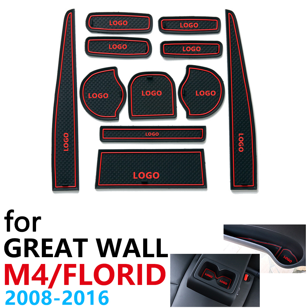 Anti-Slip Rubber Cup Cushion Door Groove Mat For Great Wall Hover M4 Florid 2008~2016 Accessories Car Stickers Mat For Phone
