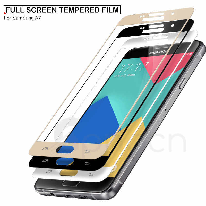 Vidrio Templado 9D EN LA para Samsung Galaxy A3 A5 A7 2017 J3 J5 J7 2016 2017 Protector de pantalla de la cubierta completa película protectora de seguridad