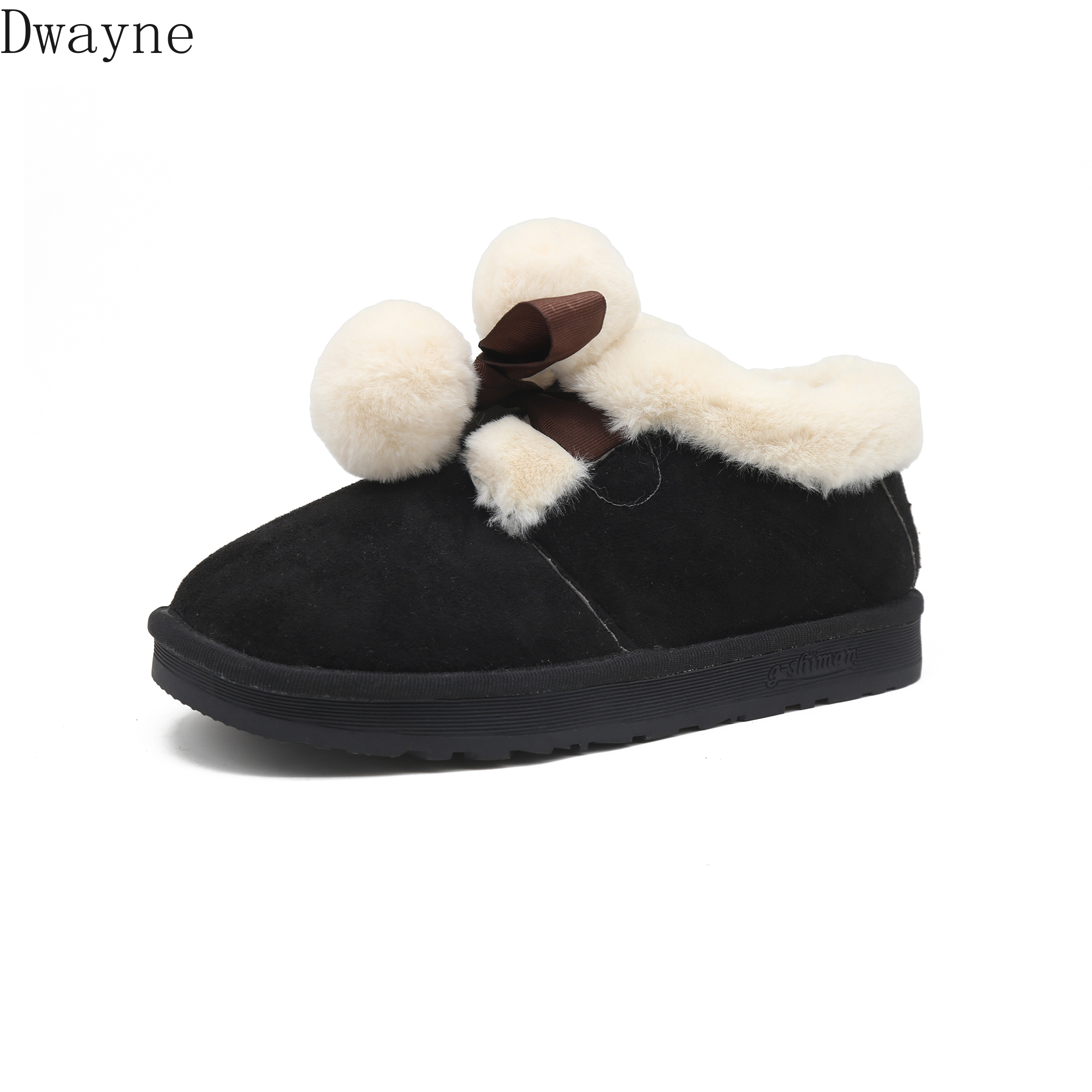 Fur <font><b>snowball</b></font> boots fall and winter 2019 New Cute flat sole shoes with velvet and thicker comfortable boots for women image