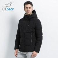 ICEbear 2019 new winter fashion brand parkas men's jacket simple fashion hooded coat knit cuff design male's jackets MWD18926D