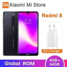 Xiaomi Redmi 8, 4 ГБ, 64 ГБ, Восьмиядерный процессор Snapdragon 439, двойная камера 12 Мп, мобильный телефон, 5000 мА/ч, большая батарея OTA