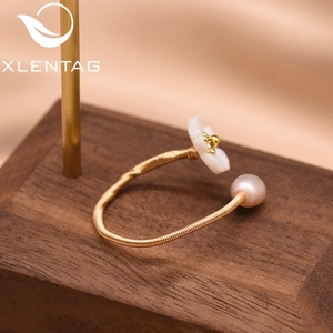 Image 4 - XlentAg Fresh Water Pearl Natural Shell White Flower For Women Ring Best Friend Wedding Engagement Gift Fine Jewelry GR0247