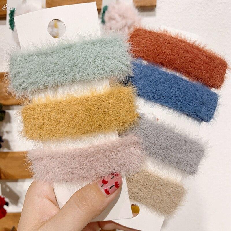 AOMU 2019 Korea Solid Color Autumn Winter Plush Hairpins Geometric Rectangle Women Mohair Hair Clips Hair Accessories