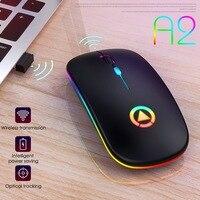 2 4 GHz de luz de colores de ratón inalámbrico portátil y ligero recargable USB Mouse silencioso para ordenador portátil Tablet PC