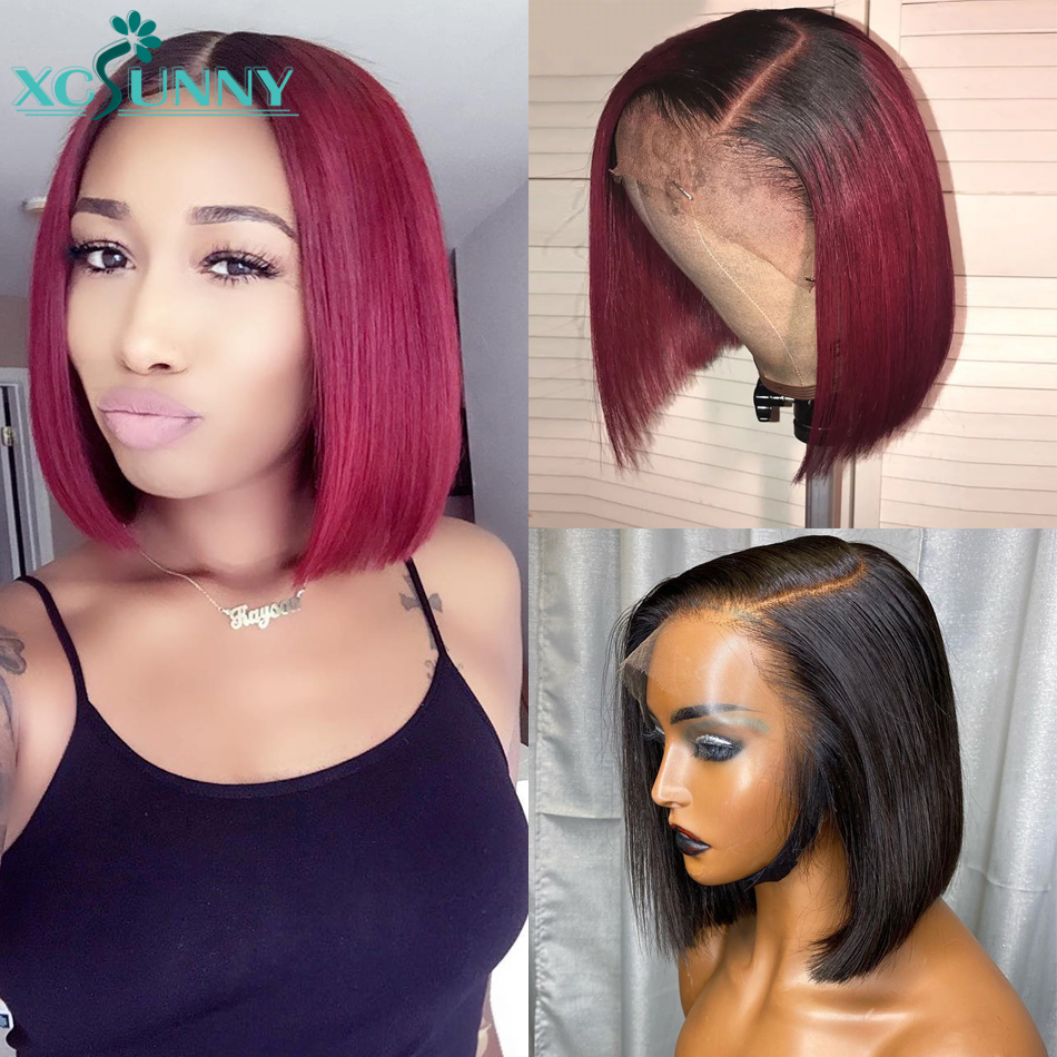 99J Burgundy Short Bob Lace Front Wigs 180 Density 13x6 Fake Scalp Ombre Human Hair Wig Brazilian Remy Pre Plucked xcsunny