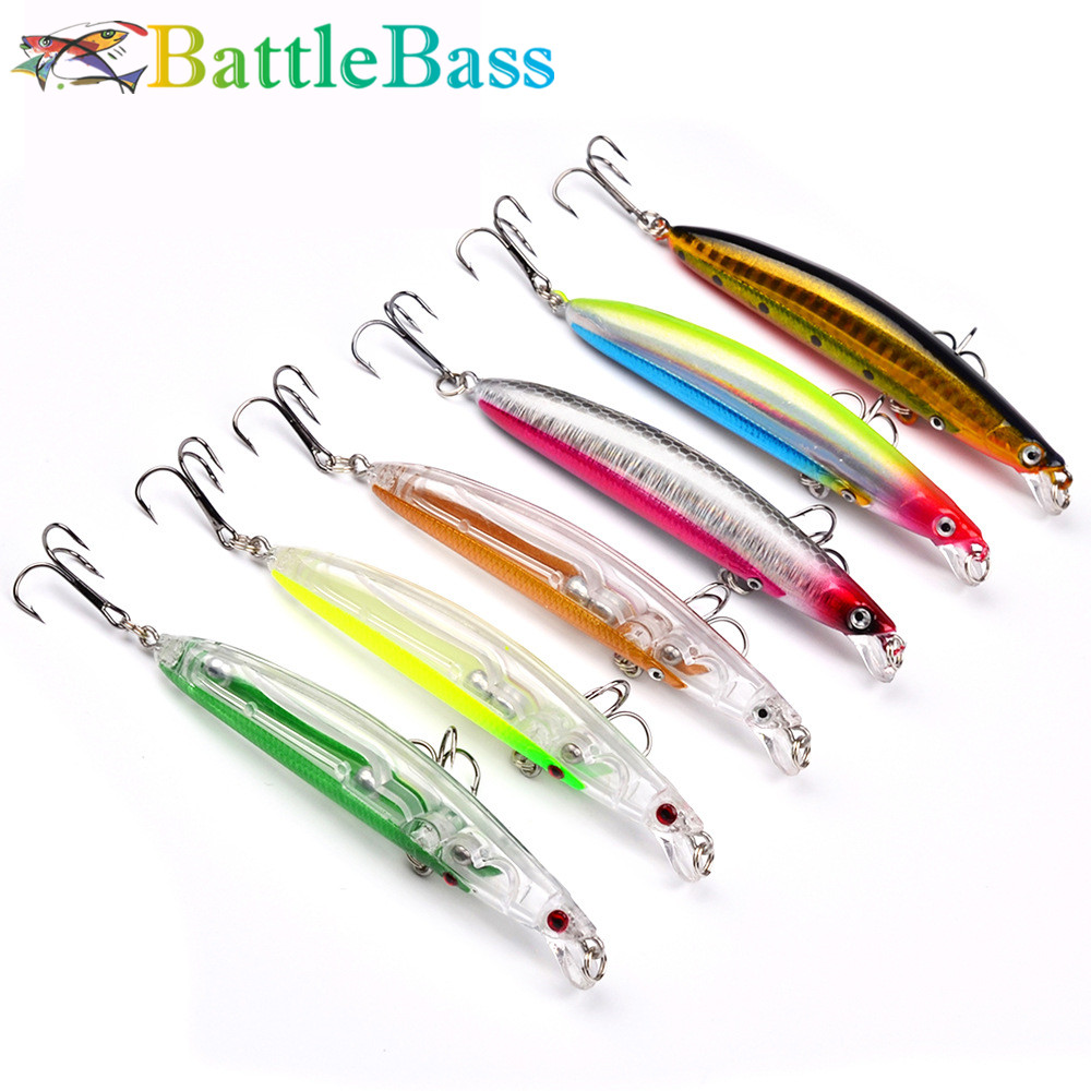 BattleBass 95mm 9.5g Rudra Hard Fishing Lure Minnow Bait Artificial Bait Lure Swimbait Wobbler With 2 High Quality Hooks