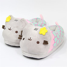Suihyung Women Winter Indoor Shoes Home Slippers Plush Stuffed Flower Cat Cotton Flats Ladies Cartoon Mermaid Warm Funny Slip On