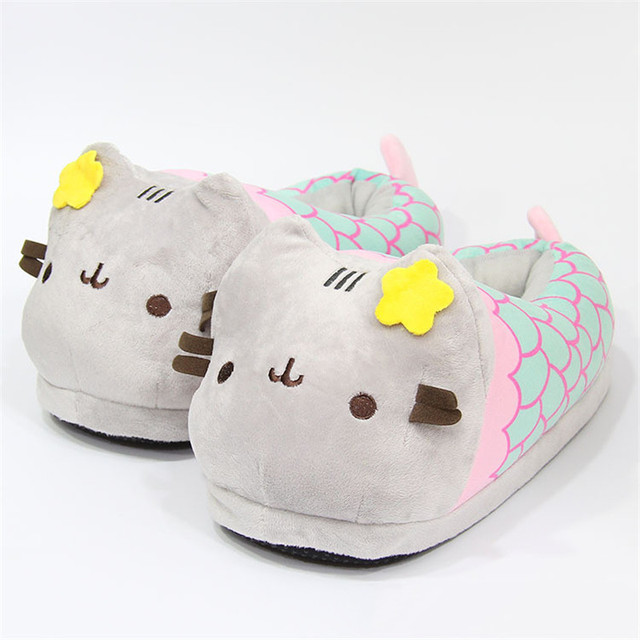 Suihyung נשים חורף מקורה נעלי בית נעלי בית בפלאש ממולא פרח חתול כותנה דירות גבירותיי קריקטורה בת ים חם מצחיק להחליק על