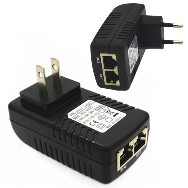 RJ45 US/EU Plug 48V/0.5A POE Lan Ethernet Power Adapter US EU Plug Injector Adapter Power Supply Power Adapter Connectors