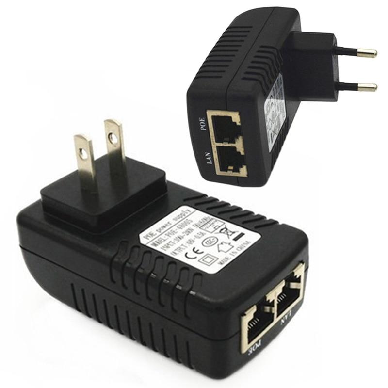 RJ45 US/EU Plug 48V/0.5A POE Lan Ethernet Power Adapter US EU Plug Injector Adapter Power Supply Power Adapter Connectors