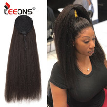 Leeons Cheap Synthetic Wrap Around Long Kinky Straight Hair Ponytail Wig Clip Hair Extensions Natural Kinky Afro Puff Ponytail(China)