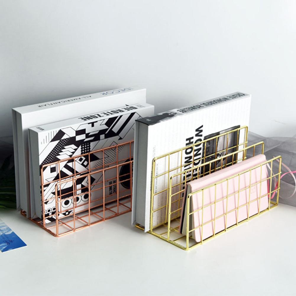 3 Layers Iron Book Magazine Document Storage Shelf Stand Dormitory Office Supply