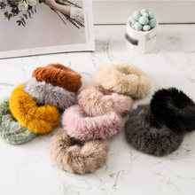 Cute Elastic Hair Bands Girls Artificial Faux Fur Rubber Elastic Ring Rope Fluffy Tie Hair Accessories Furry Headband Scrunchie(China)