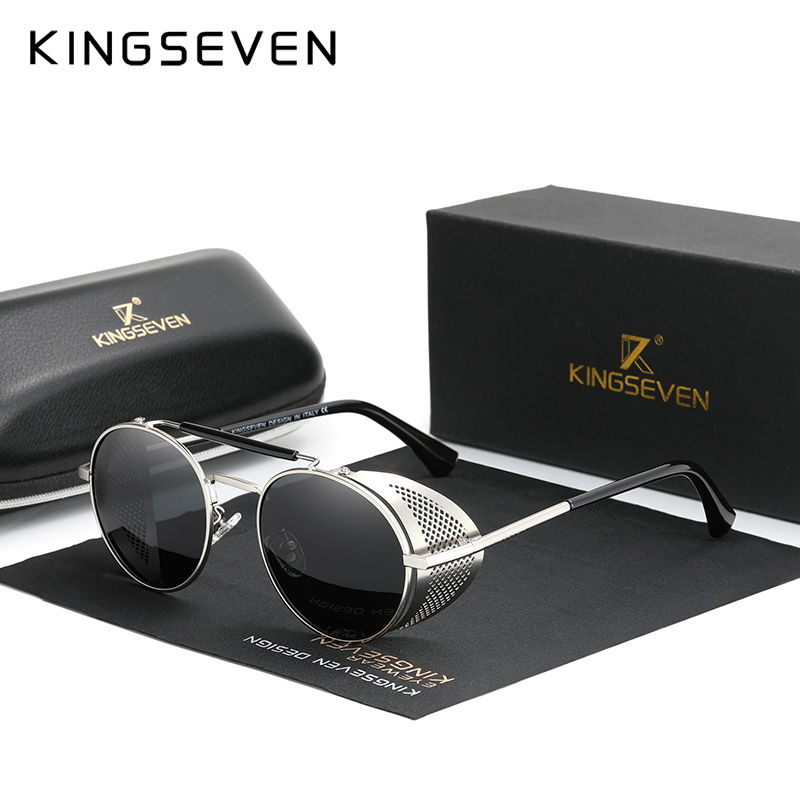 Genuine KINGSEVEN Retro Round Steampunk Sunglasses Men Retro Women Sun Glasses Shades Vintage Travel Eyewear Gafas De Sol 7550 10