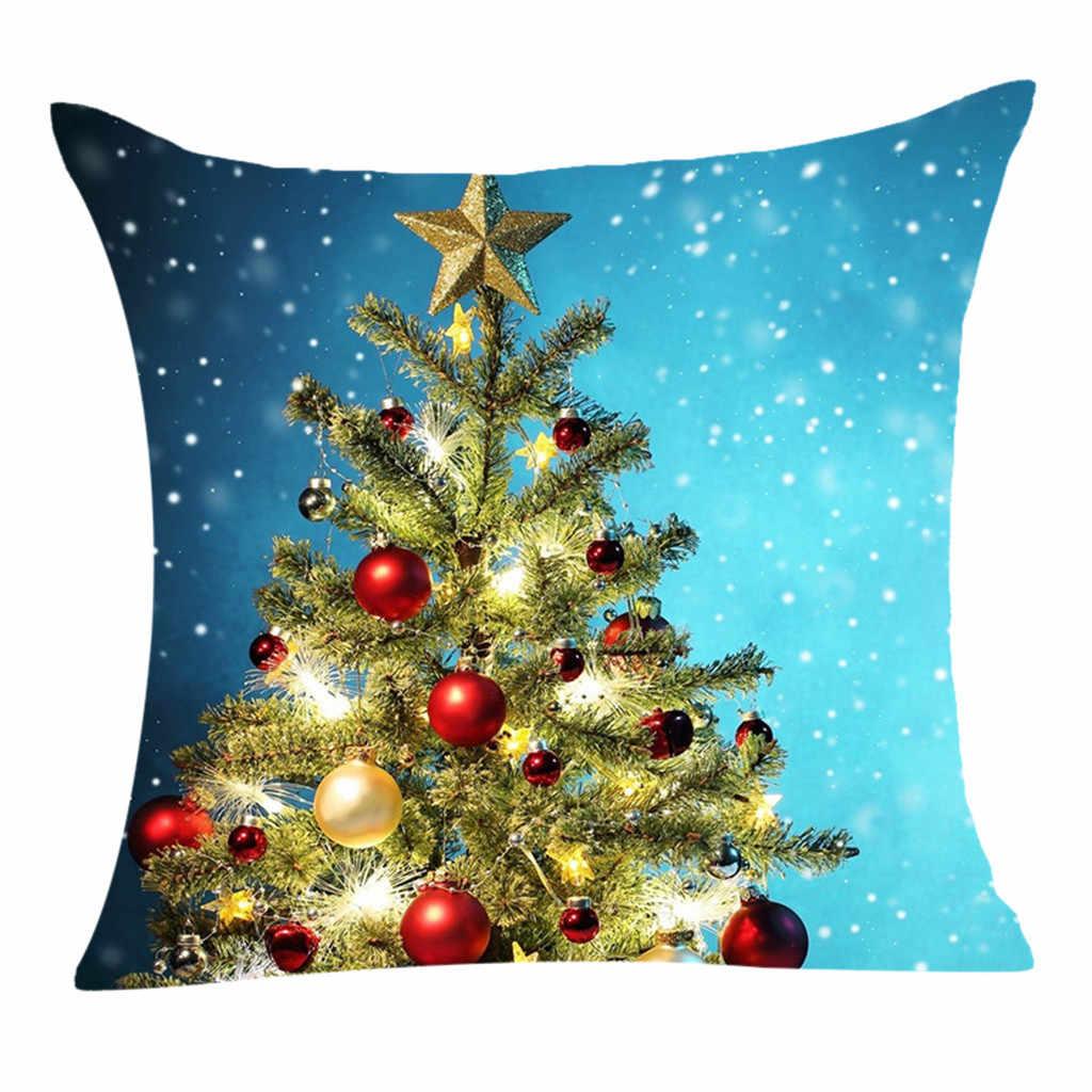 Lindo gato impreso patrón algodón Lino decorativo funda de almohada Silla de Navidad funda de cojín decoración del hogar 2020