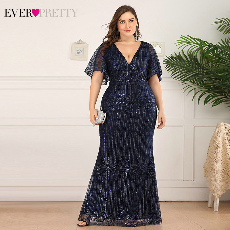 Plus Size Evening Dresses Ever Pretty Mermaid Sequined Deep V-Neck Ruffles Sleeve Sexy Sparkle Formal Party Dresses Abendkleider