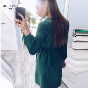 Image 4 - 2020 New Autumn Dress Lady Long Sleeve Sweet Retro Fashion Green Floral Embroidery Mujer Vestidos Women Winter Warm Corduroy