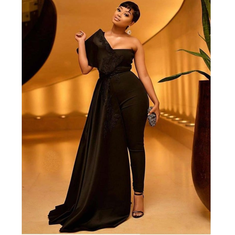 Black Jumpsuit Prom Dress With Appliques Sequins One Shoulder Overskirts African Evening Dresses Pant Suits Plus Size Party Gown