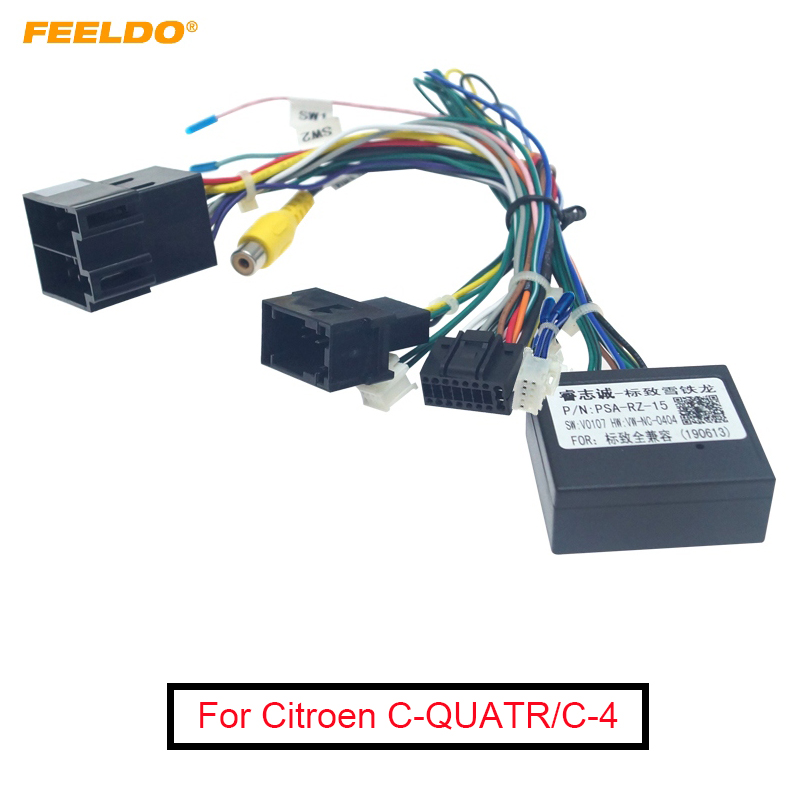 FEELDO 16-pin Car Android Stereo Wiring Harness For Citroen C-QUATR/C-4 Low Trim Level (10~18) Low Trim With CANbus