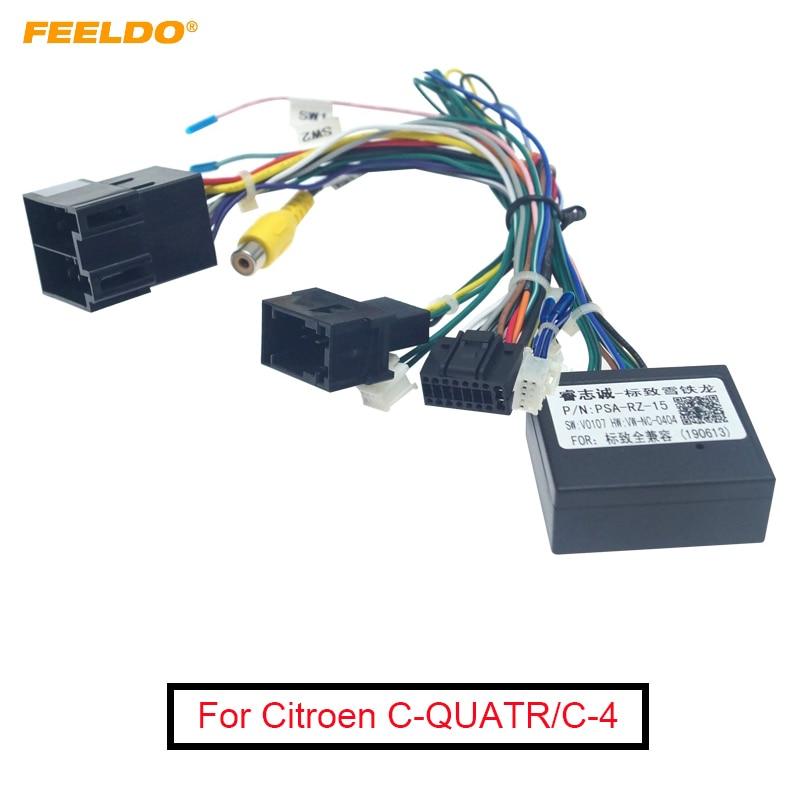FEELDO 16-pin автомобильный Android стерео жгуты проводки для Citroen, с низким уровнем обшивки (10 ~ 18), с низкой обшивкой и CANbus, для Citroen, C-QUATR