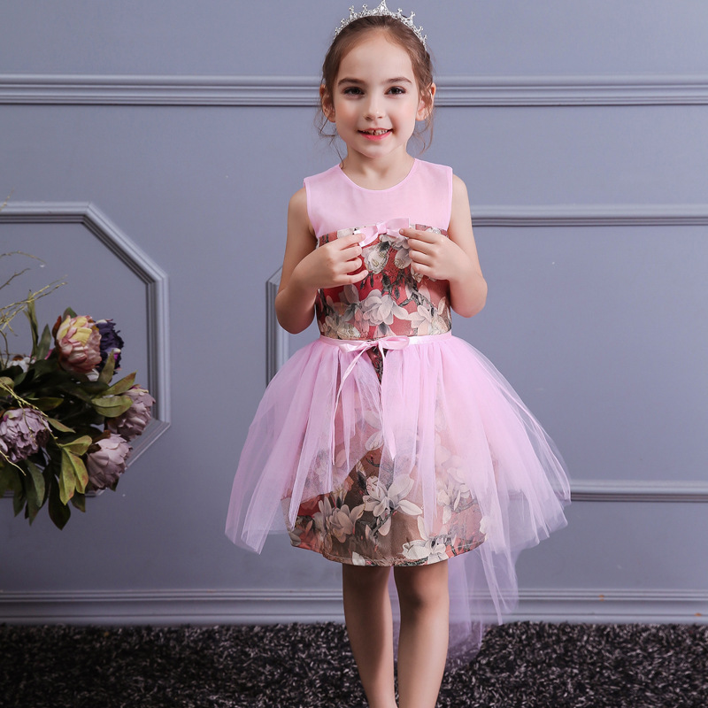 CHILDREN'S Dress Europe And America Medium-small GIRL'S Gown Gauze One Piece Formal Dress CHILDREN'S Performance Wear 3-Color Se