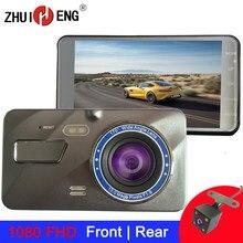 Zhuiheng 4 Polegada traço cam 2.5d câmera do carro 1980*1080 fhd dashcam carro dvr lente dupla câmera de visão traseira gravador condução dvr câmera