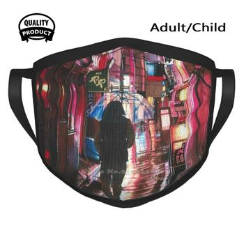 Red Light Cotton Breathable Face Mouth Mask Red Light Markers Copics Anime Contemporary Realism Photorealism Urban Industrial image