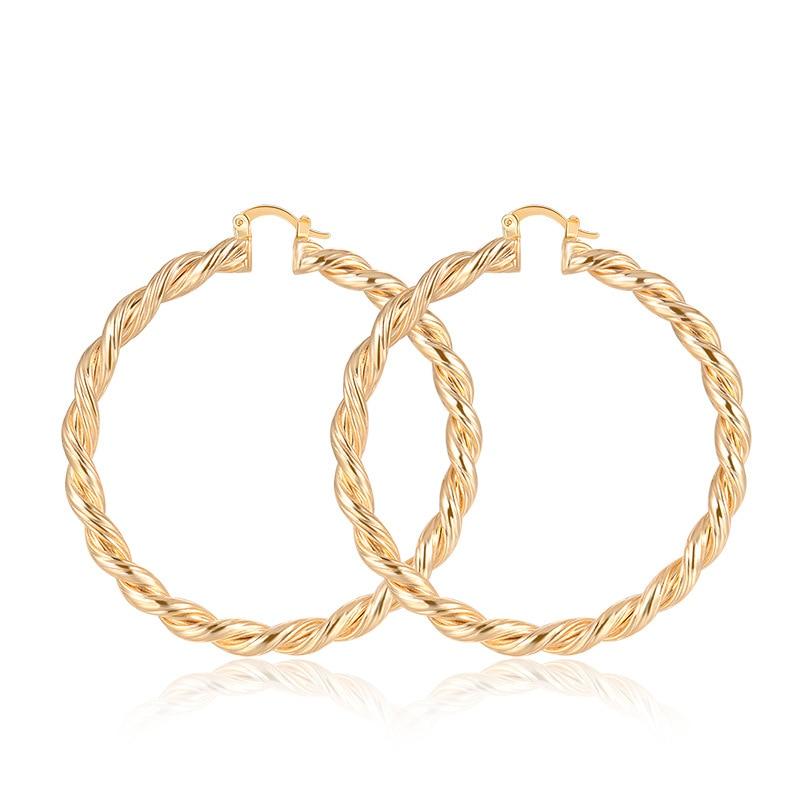 European and American Simple New Twist Thread Shape Gold Hoop Earrings Jewelry Wholesale Jewelry