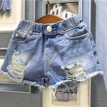 Summer Girls Jeans Baby Denim Shorts Kids Shorts Children Streetwear Toddler Hot Bottoms Ripped Tassel Pocket 2-10 Yrs old Wear