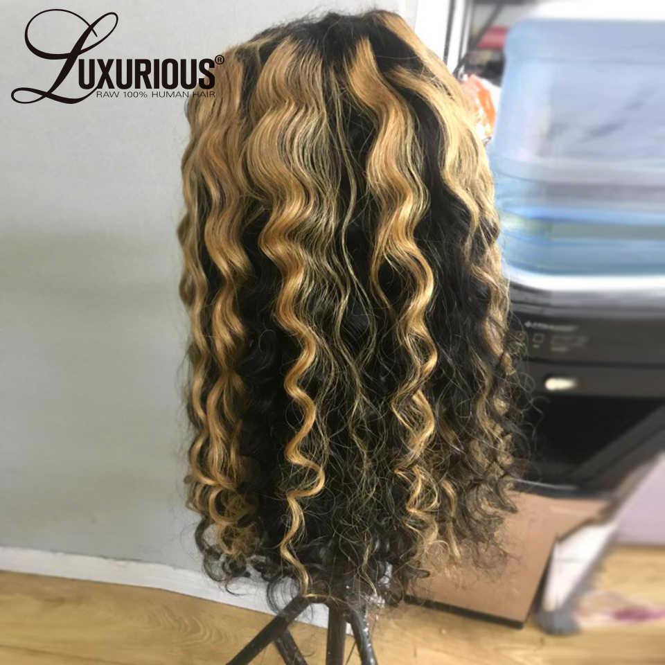Peluca de cabello humano rizado Ombre 360 peluca Frontal de encaje rubia 613 peluca con malla Frontal 180 pelucas de cabello humano con encaje brasileño Frontal para mujer