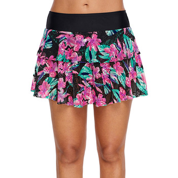One-Piece Swimming Divided Skirt Women's Printed Lace Skirt Conservative Slimming Belly Covering High-waisted Swimming Trunks Sk