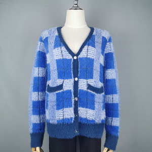 Image 2 - Vintage Synthetic Mink Cashmere Sweater Women Harajuku Lazy Style Ladies V Neck Button Up Cropped Fuzzy Plaid Cardigan Knitted