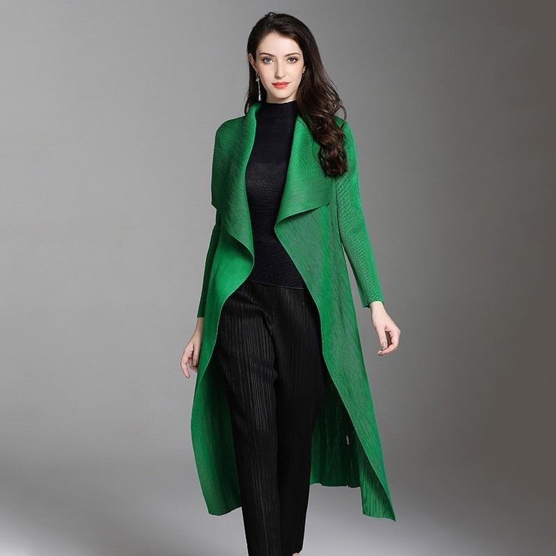 LANMREM 2020 High Quality New Fashion Pleated Clothing Female's Double Lapels Personality Cardigan Long Coat Vestido YF500