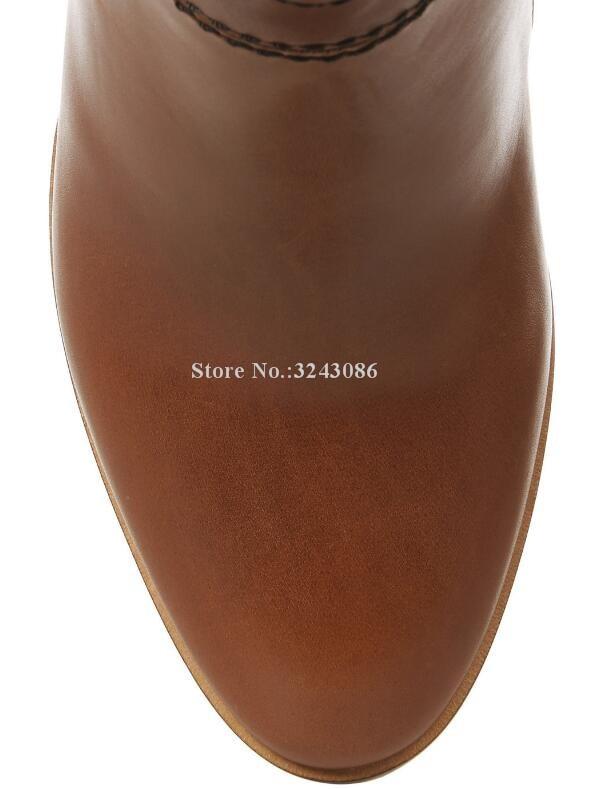 Neue Braun Leder Chunky Ferse Frauen Lange Stiefel Marke Design Große Größe Über die Knie Stiefel Promi Bankett Schuhe Dropship - 5