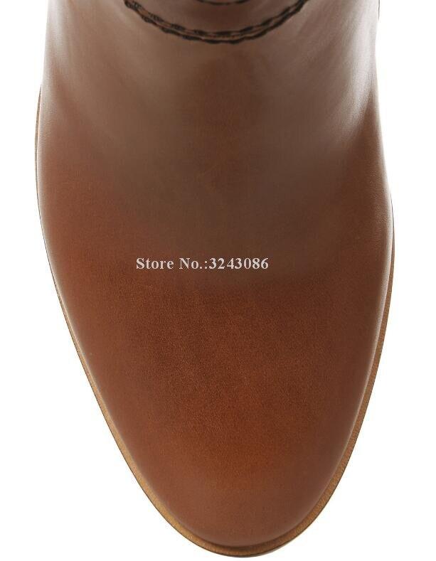 Nouveau cuir marron talon épais femmes bottes longues conception de marque grande taille sur les bottes au genou chaussures de Banquet de célébrité livraison directe - 5