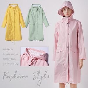 Image 4 - Womens Stylish Solid Yellow Rain Poncho Waterproof Raincoat with Hood and Pockets