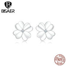 BISAER Elegant Flowers Earrings 925 Sterling Silver Luck & Courage Four-Leaf Clover Women Stud Earrings for Women Jewelry HSE864 hot sell high quality four leaf clover stud earrings classic jewelry for women brincos shell two flowers stud earrings wholesale