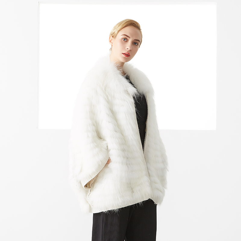 Luxury Fox Fur Coat For Women Winter Gorgeous Warm Elegant Solid Color Zipper Casual Soft Real Fox Fur Coat Female