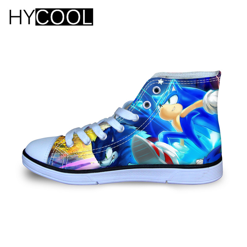 HYCOOL Kids High Top Canvas Shoes Sonic The Hedgehog Catoon Print Boys Girls Sport Sneakers Lightweight Hot Tennis Running Shoe