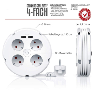 Image 2 - Multiple Power Strip Electric Sockets 4 way Round 2 USB Charger Switch Outlets Illuminated Wall Mounting Circular Roll up Cable