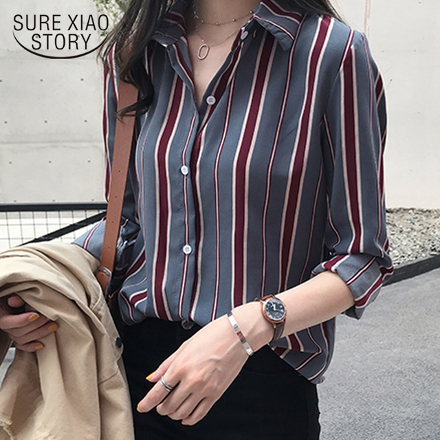 NEW  fashion striped blouse shirt 3XL plus size women tops long sleeve women shirts women blouse womens tops and blouses 1677 50 1