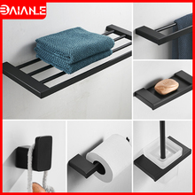 Bathroom Towel Holder Black Stainless Steel Towel Rack Hanging Holder Towel Bar Toilet Paper Holder Shower Soap Holder Coat Hook все цены