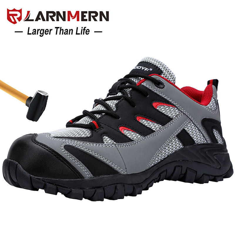 LARNMERN Outdoor Anti-smashing Steel Toe Cap Work Safety Boots Shoes Men Fashion Safety Footwear Breathable Lining Mesh Sneaker