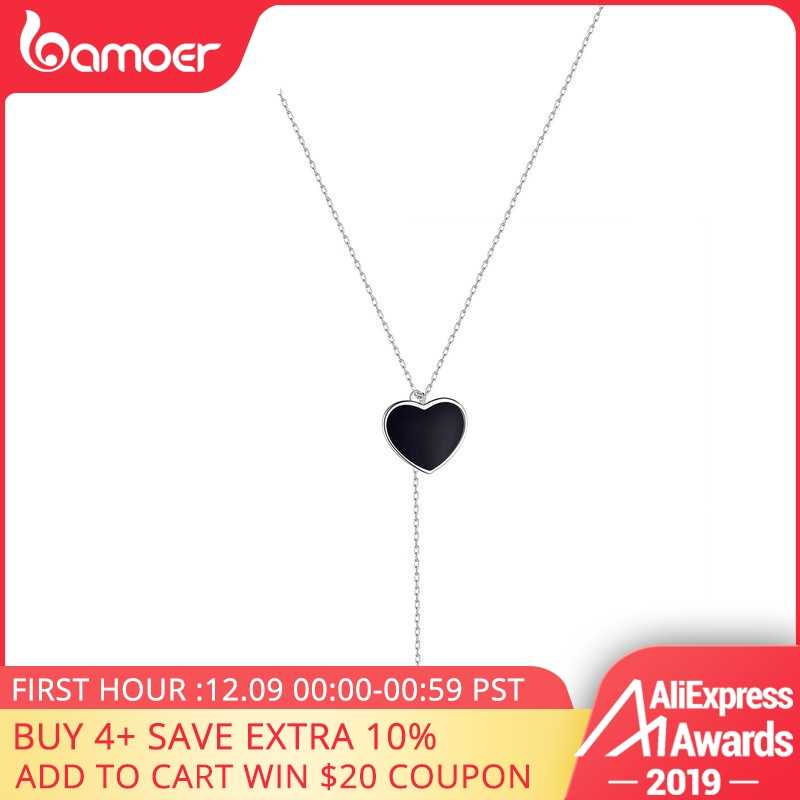 bamoer Double Heart Necklace for Women Simple Black Enamel Y-shape Chain Necklaces 925 Femme Sterling Silver Jewelry BSN095