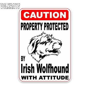 Volkrays Funny Car Sticker Property Protected By Irish Wolfhound Dog Sketch Accessories Reflective Waterproof PVC Decal,10cm*7cm image