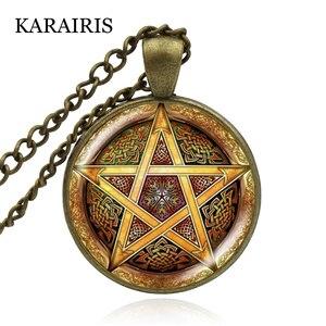 KARAIRIS Handmade ezoteryczny Pentagram naszyjnik szklaną kopułą Pentagram wisiorek Wiccan Pagan okultystyczny astrologia Choker naszyjniki biżuteria